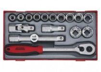 """18 delars Hylsnyckelsats. Med 1/2"""" □-anslutningsfäste Teng Tools TT1218-6"""