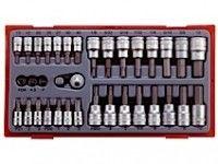 """35 delars Hylsbitssats med 1/4"""" och 3/8"""" □-anslutningsfäste Teng Tools TTBS35"""