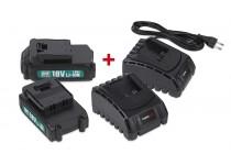 Batterier 18V (2stk.) + Oplader x 2 stk.
