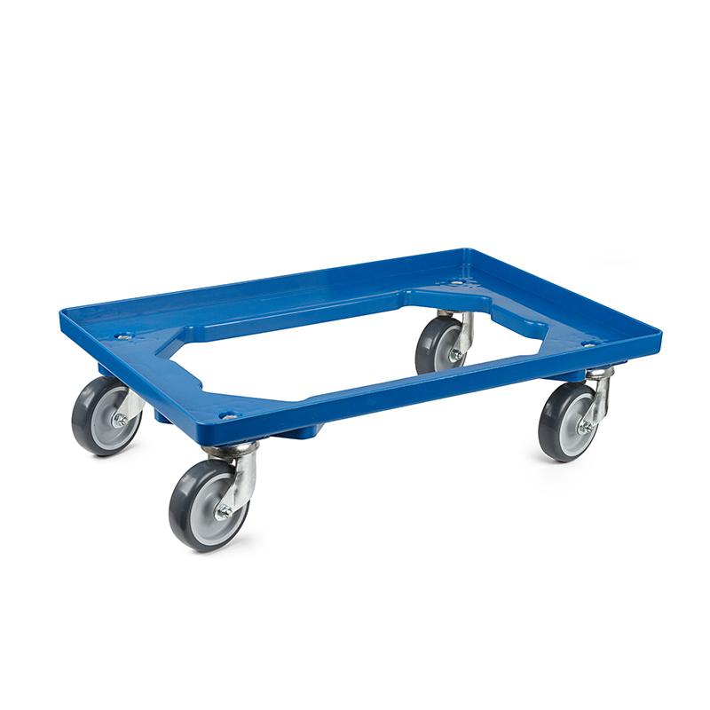 Køb Transportvogn i plast Ã¥ben type i blÃ¥ farve med 4 drejelige gummihjul